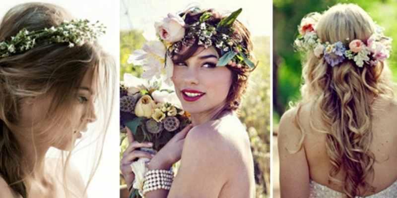 boho wedding hair with flowers