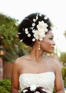 African American Wedding Hairstyles with flowers