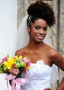 Afro Puff wedding hairstyle