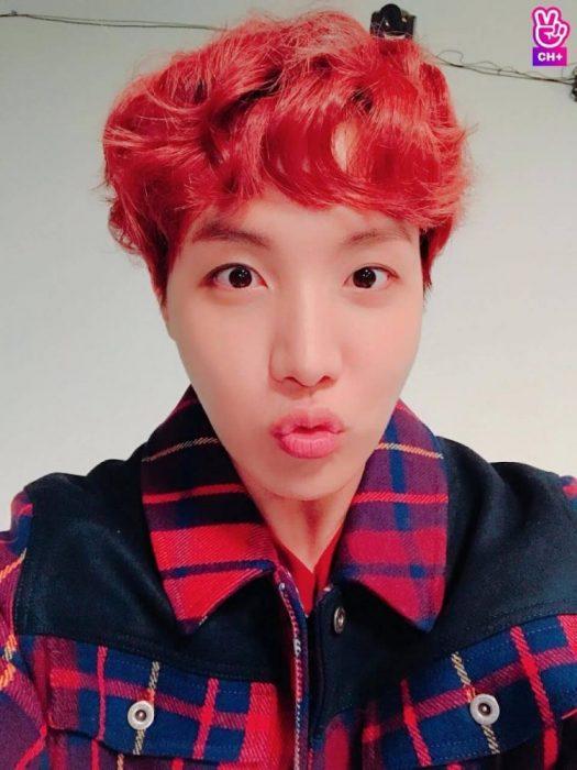 Red bangs on J-Hope