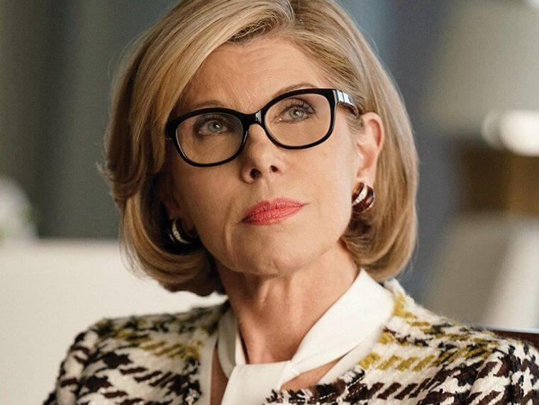 Elegant hairstyle for a woman over 50 with glasses