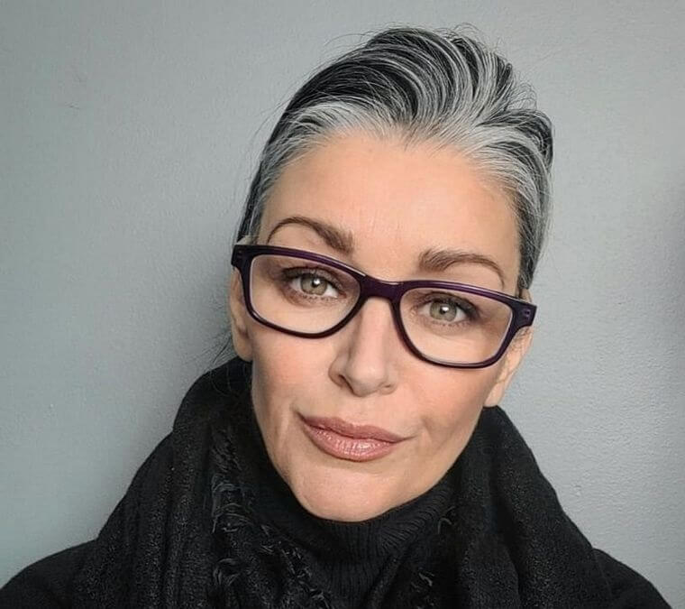 Updos hairstyle with glasses on women over 50