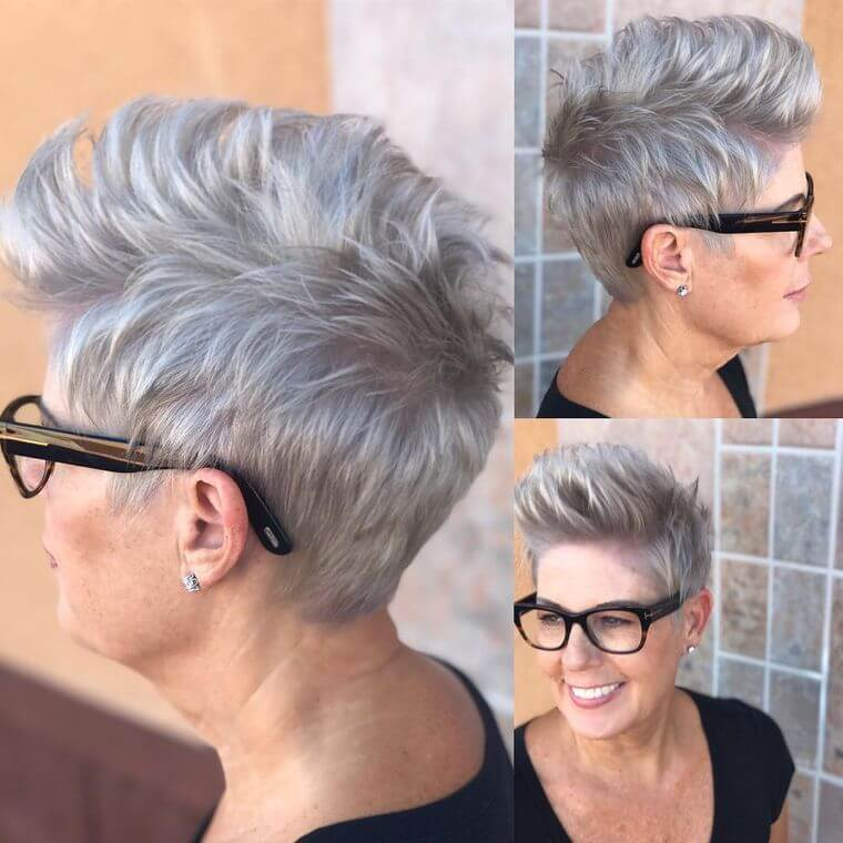 hairstyle for the woman over 50 with glasses