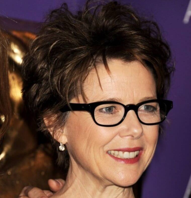hairstyle for women over 50 with glasses