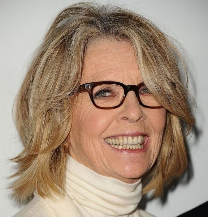 medium length bob hairstyle for women over 50 with glasses