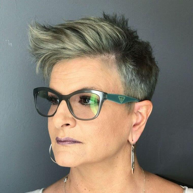 short hairstyle with matching glasses for over 50